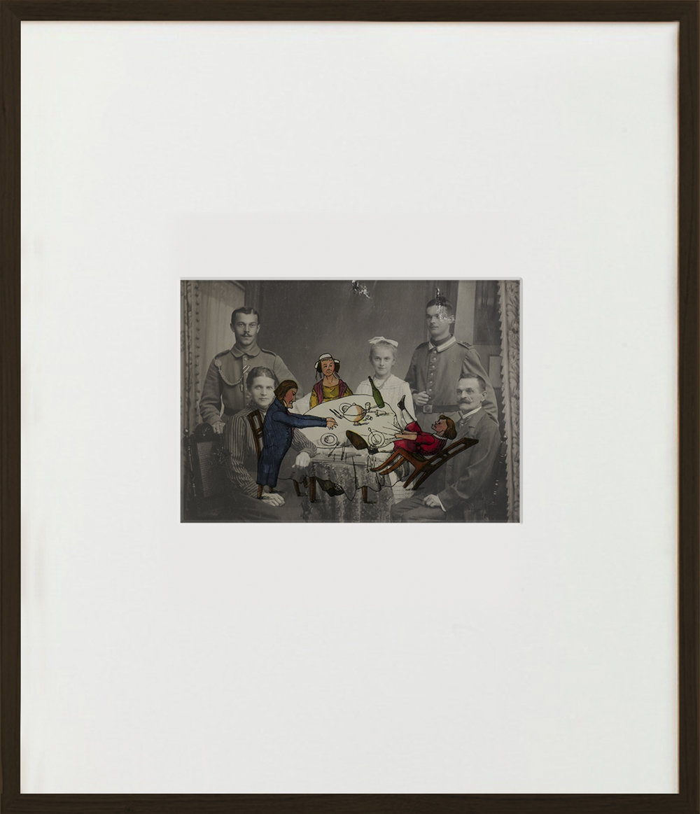 Elias Wessel  Ich sehe was, was Du nicht siehst  (Vanitas), 2015  Aquarell and Pigment on B/W Photograph 70,5 x 60,6 cm (framed)