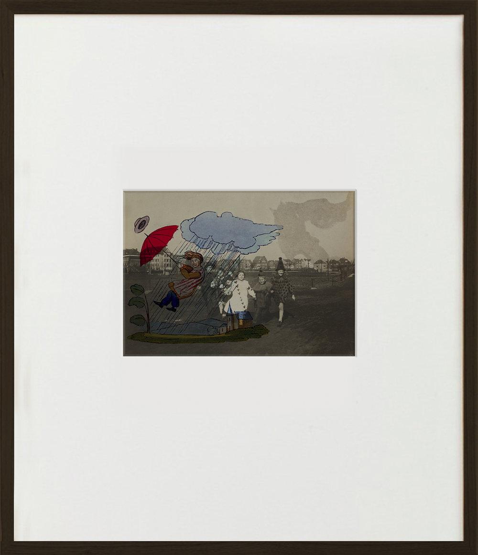 Elias Wessel  Der fliegende Robert  (Vanitas), 2015  Aquarell and Pigment on B/W Photograph 70,5 x 60,6 cm (framed)
