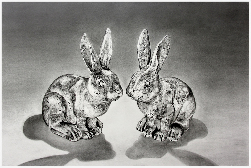 - 'Bunny Love'Graphite Drawing on paper/adhered to wood panelwith a wax finish ready to hang. 914mm x 610mmAlso available as a print$650ENQUIRE