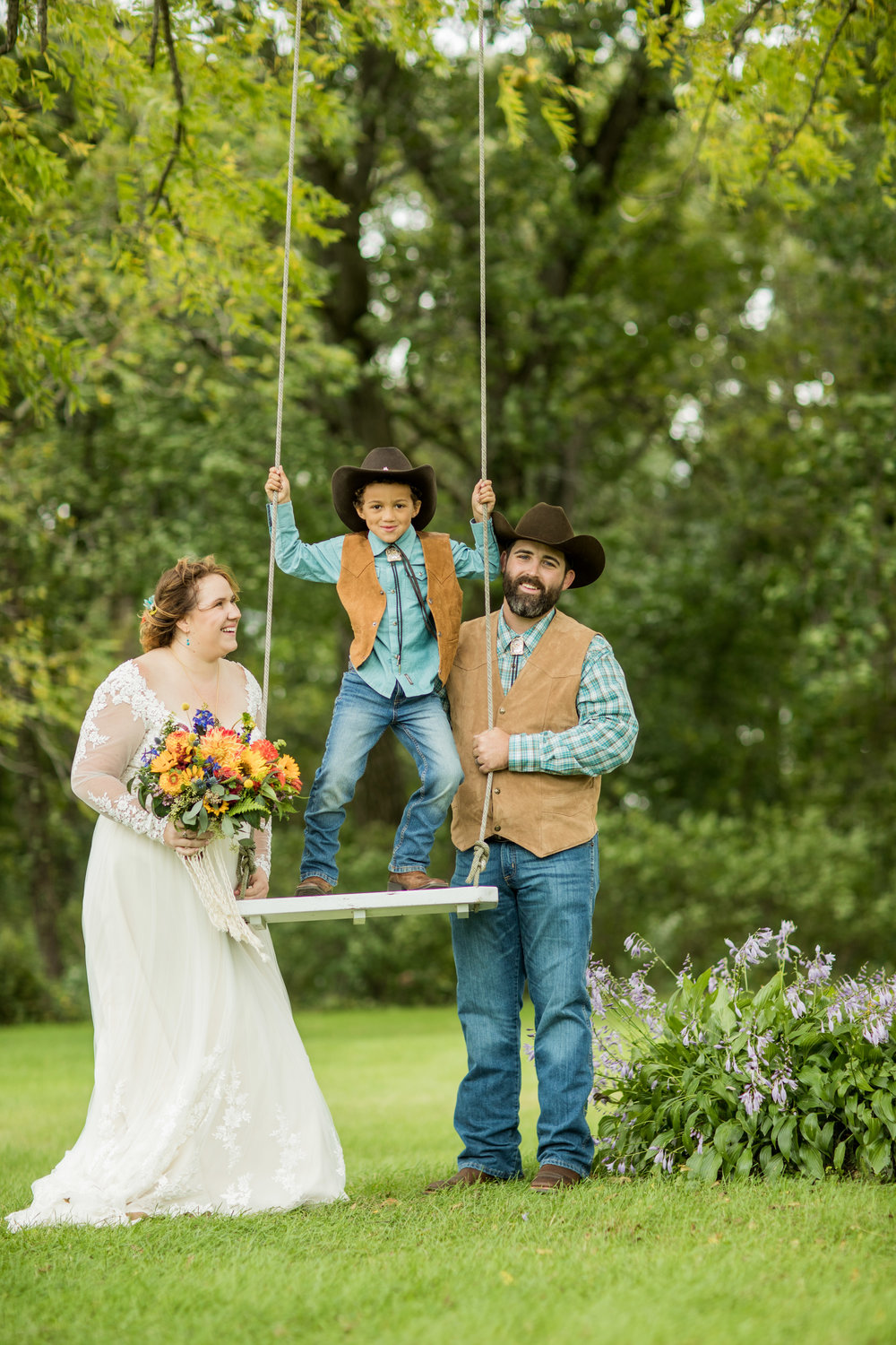 Bride and Son on Swing
