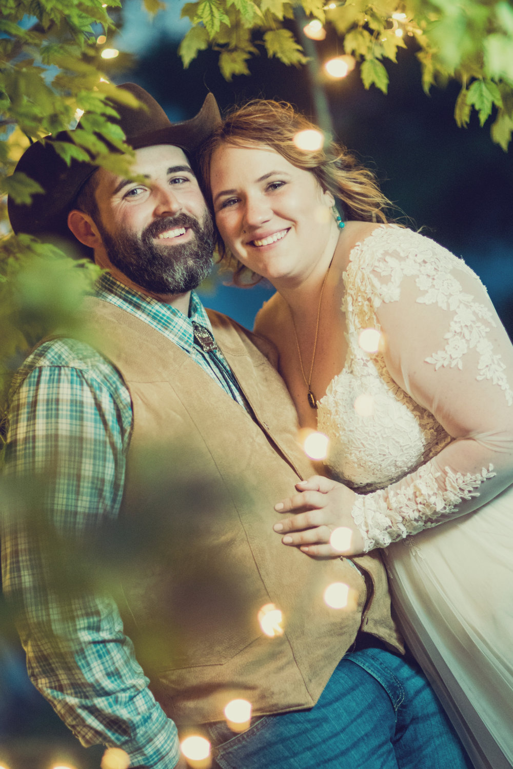 Bride and Groom in Lush Outdoor Wedding Setting