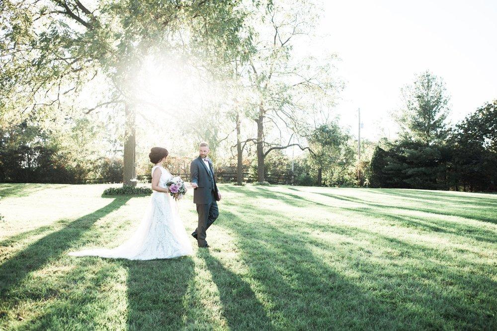Beautiful Couple Strolls on Wedding Day