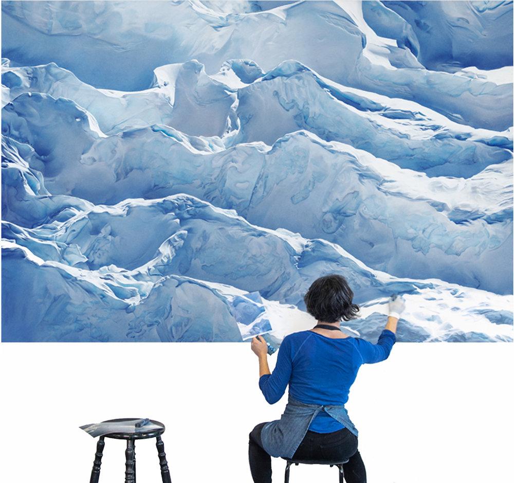 Zaria Forman drawing  Jakobshavn Glacier, Greenland, 69° 47'31.092″N 49° 47′ 31.7076″W, April 29th, 2017.