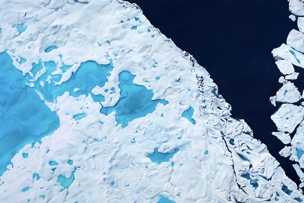 """Arctic Ocean (Northwest off the coast of Ellesmere Island, CAN), 83° 19' 44.976""""N, 79° 18' 22.957""""W, July 17th, 2017 , soft pastel on paper, 40 x 60 inches, 2018"""