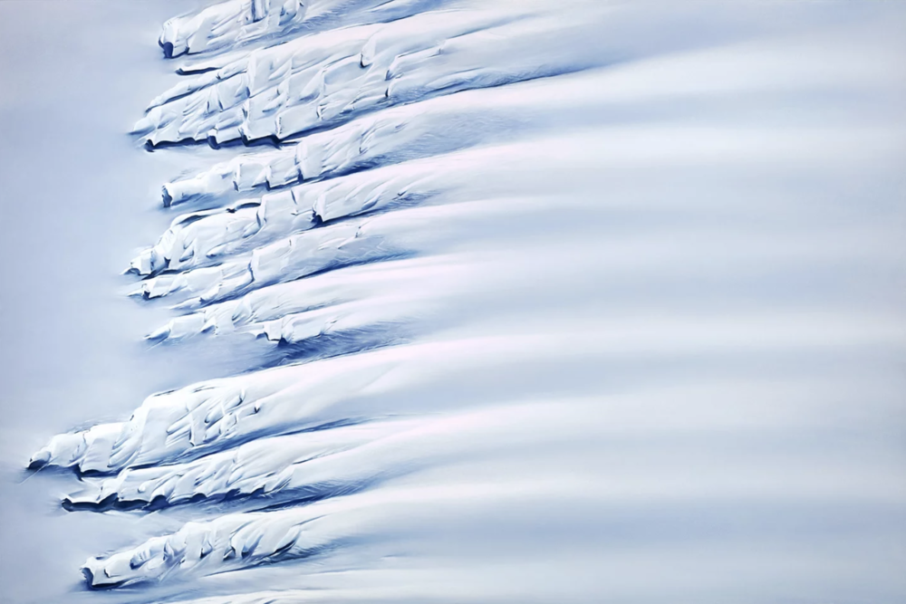 """Getz Ice Shelf, Antarctica, 74° 45' 57.708""""S 133° 50' 54.8448""""W, October 28th, 2016 , soft pastel on paper, 40 x 60 inches, 2018"""