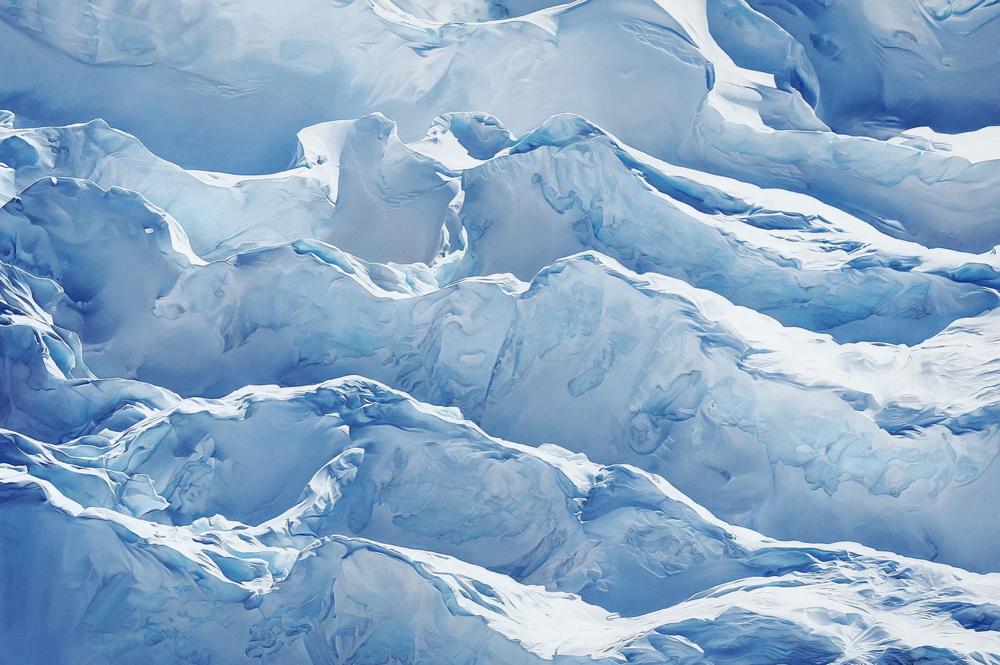 "Jakobshavn Glacier, Greenland, 69° 47' 31.092""N 49° 47' 31.7076""W, April 29th, 2017 , soft pastel on paper, 68 x 102 inches, 2018"