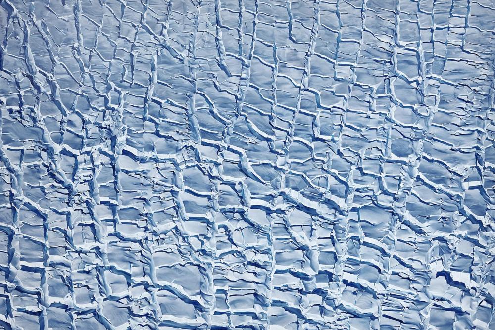 "DeVicq Glacier, Antarctica, 74° 47' 58.401""S 131° 0' 54.8208""W, October 28th, 2016 , soft pastel on paper, 60 x 90 inches, 2018"