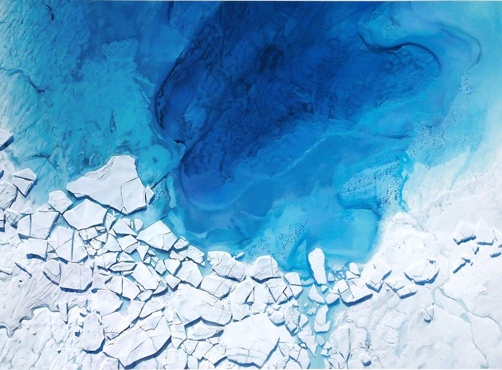"Supraglacial Lake (between Hiawatha and Humboldt Glaciers), Greenland, 79° 6'59.05""N 65°15'54.99""W, July 19 2017 , 60 x 81 7/8 inches, 2018"