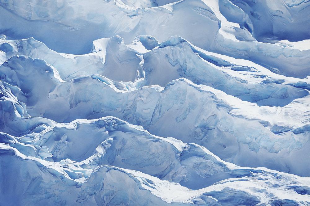 Zaria Forman,  Jakobshavn Glacier, Greenland, 69° 47'31.092″N 49° 47′ 31.7076″W, April 29th, 2017 , Soft Pastel on Paper, 68 x 102 inches, 2018.