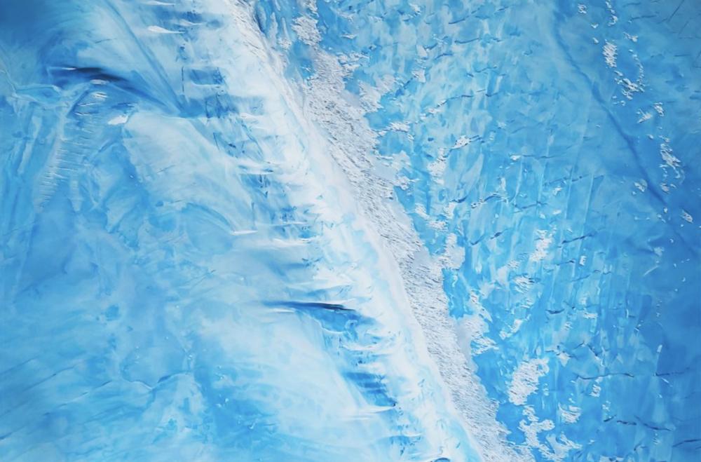 "Garfield Glacier, Antarctica, 74° 57' 16.3764""S 136° 34' 52.23""W, October 28th, 2016 , soft pastel on paper, 60 x 90 inches, 2018"
