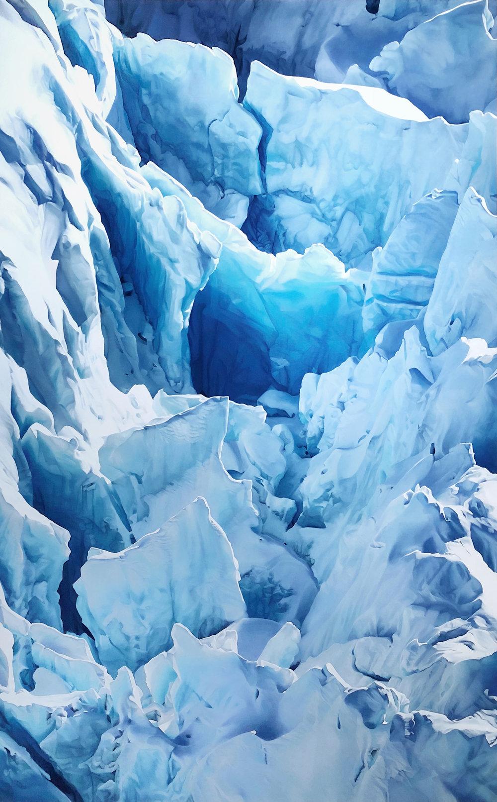 "Jakobshavn Glacier, Greenland, 69° 4'51.58""N 49°28'24.41""W, April 29th, 2017 , soft pastel on paper, 108 3/8 x 68 inches, 2018"
