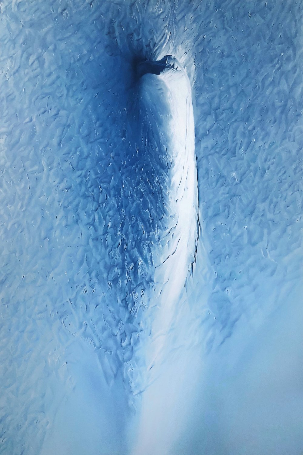 """Hutchinson Glacier, 68° 7'22.30""""N 33° 5'40.70""""W, April 22nd, 2017 , soft pastel on paper, 45 x 30 inches, 2018"""