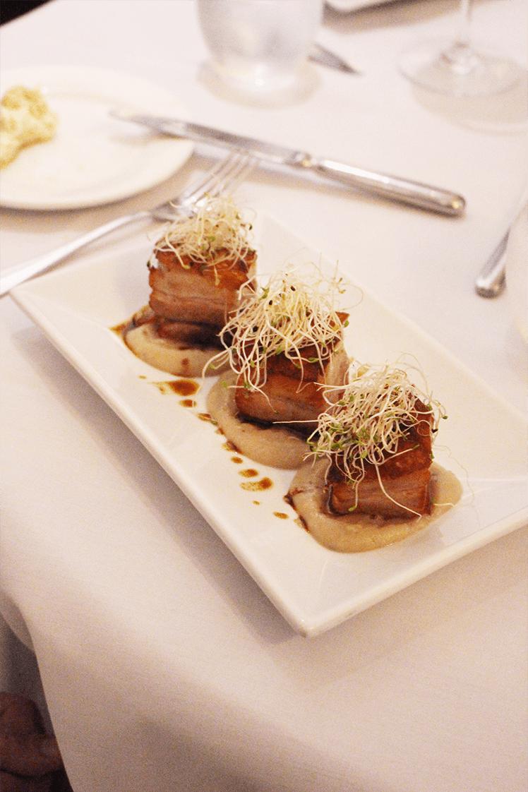 Pork belly, chestnut purée, alfalfa