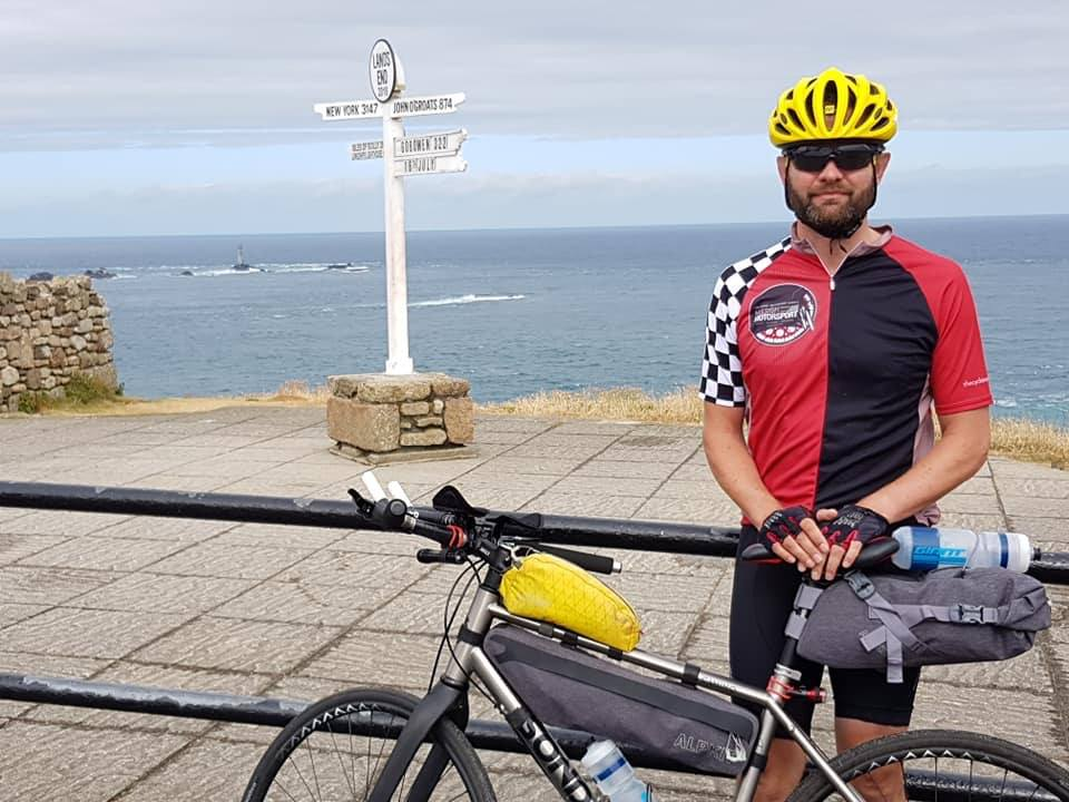 Major (Ret'd) Jason Carter ready to start his epic trip from Lands End to John O'Groats