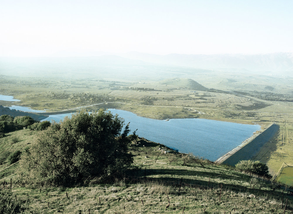 Israeli water basin at the Golan heights