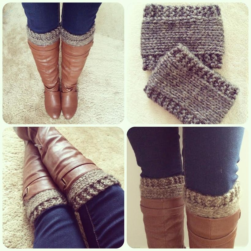 Knitted boot cuffs by Wake and Whimsy