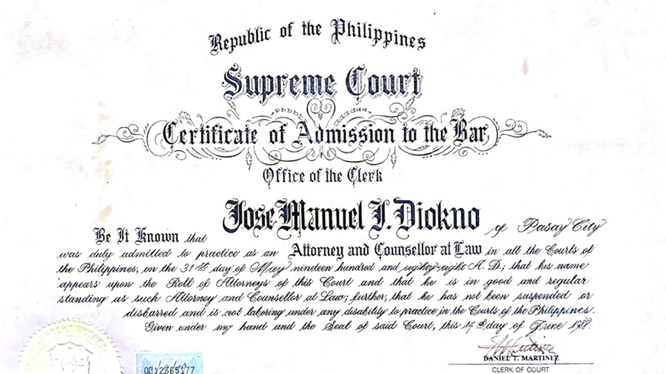bAR - He passed the Bar both in the State of Illinois and in the Philippines, and chose to serve in his country.