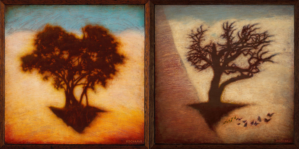 "Portrait of a Flying Tree, Portrait of a Flying Tree 2 - oil on panel - 9.25x9.25"" (each) - TAG Gallery"