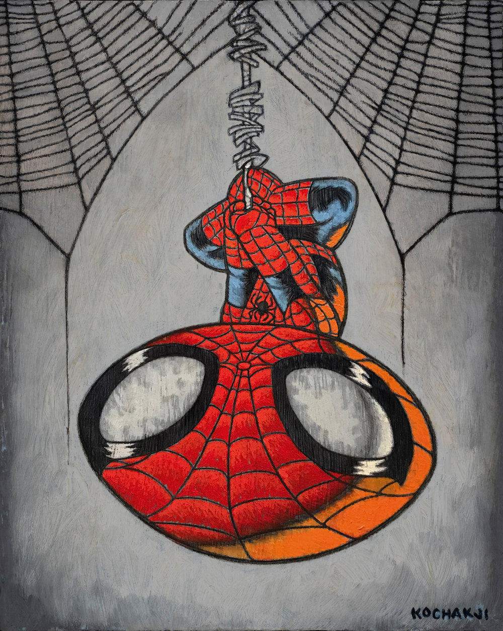 "Spider-Guy - oil on panel - 8x10"" - Fox Gallery - Disney/Fox theme"