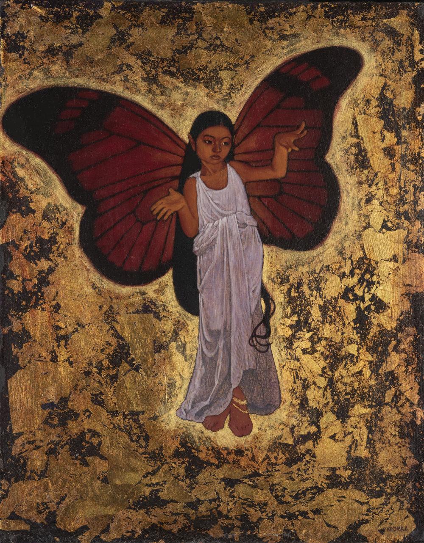 """La Niña Mariposa - oil on panel - 11.5x14"""" - La Luz De Jesus Gallery"""