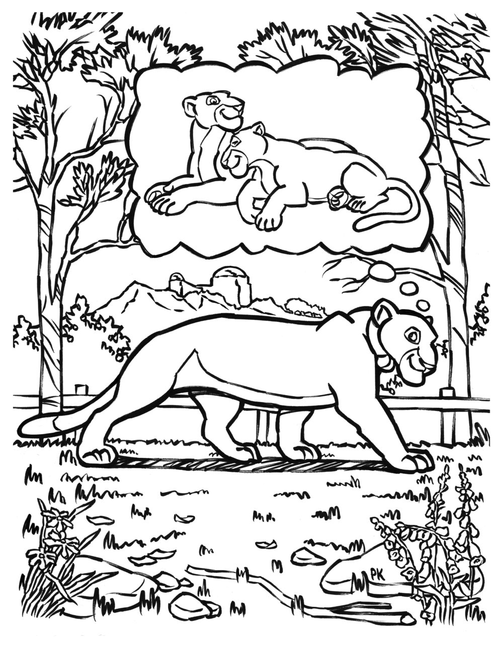 P-22 Coloring Book Page - Brushpen- We Love P-SS Coloring Book - Narrated Objects