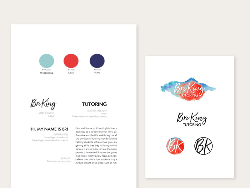 Bri King Tutoring Branding Design Love is Creative