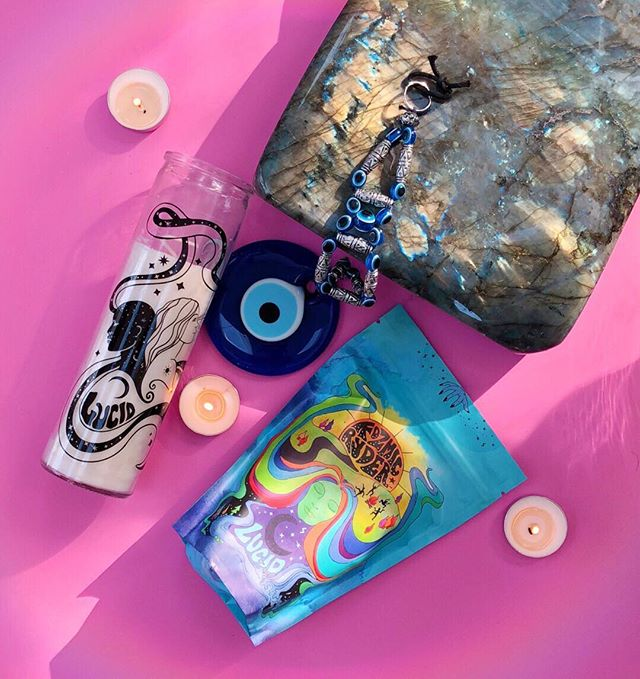 Today's daylight savings, mercury retrograde, pre-moontime magic includes Lucid Dreaming Tea, some old Armenian Evil Eye protection, a honkin' piece of labradorite, and a magical candle💫⠀⠀⠀⠀⠀⠀⠀⠀⠀ The magical Lucid Dreaming Tea and symbol message infused ritual candle are available now, if you're ready to start your journey with me. link in bio, my love. Happy Sunday, here's to another powerful week!! ✨