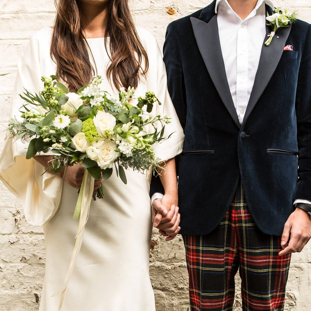 Bride + groom - Our Bride + Groom package includes a bridal bouquet, a bridesmaid bouquet, a buttonhole and one footed urn table centre. Multiples of items can be added at checkout. Choose your colour palette and we'll do the rest.