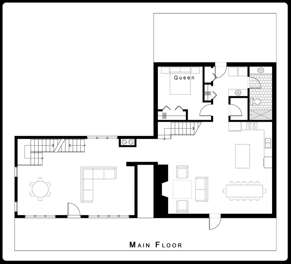 Island Park Cabin Rental Floor Plan | Main Floor, Mesa Falls Lodge