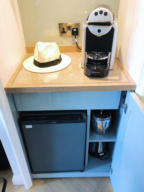 Conrad Dublin hotel review: King Premier Room refrigerator and coffee maker