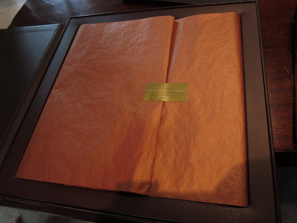 2012 Welcome Amenity - Gold-dusted chocolate | Travelhappy review of the Park Hyatt Paris luxury hotel