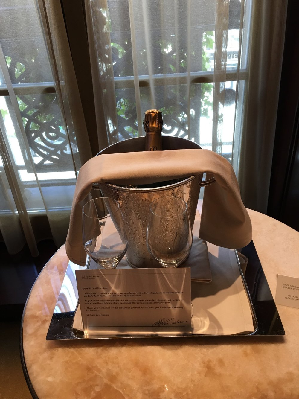 Celebratory champagne (2016) - I was pregnant so I had just a glass | Park Hyatt Paris | Travelhappy Luxury Hotel Review