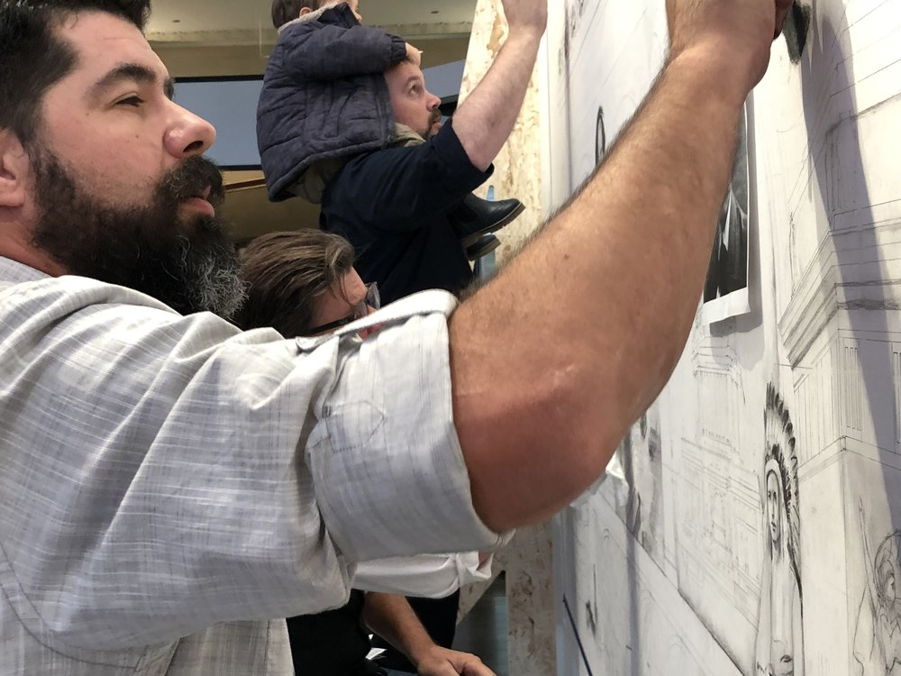 Domiane Forte, Steve Shriver and Matthew McNicholas (+1) live-drawing a mural at  SCENOGRAPHIA 2018 in Chicago.