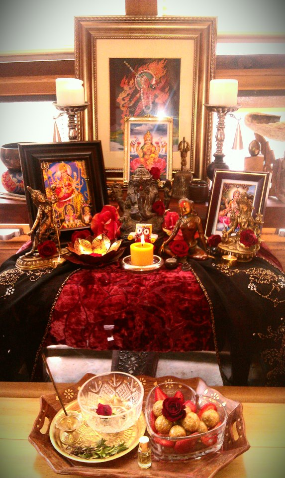 Puja altar in the Temple