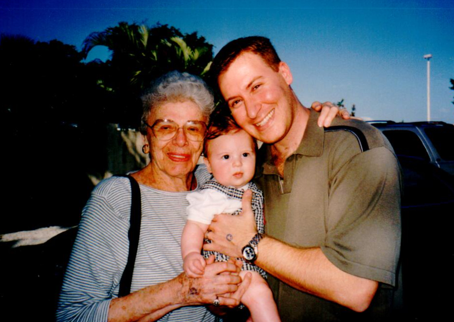Aunt Sylvia, my son and I — 2002.