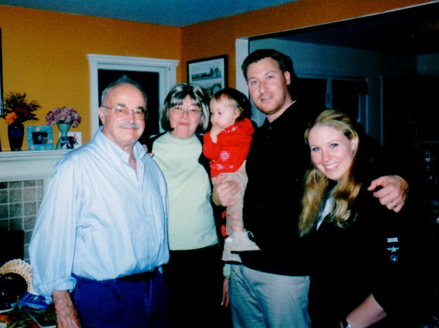 My Uncle Saul, Aunt Marilyn, my daughter, me and my sister — 2003.