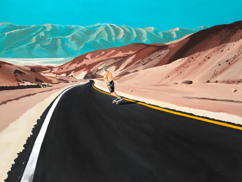 Death Valley Skateboarder - Casey took this photo of a skateboarder in Death Valley and was commissioned to paint it afterwards. This 30 x 40 inch acrylic painting now resides in Australia.