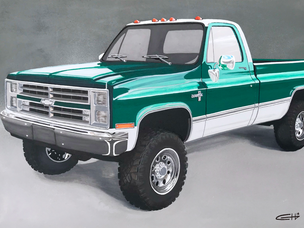 87 CHEVY - The 87 Chevy acrylic painting is 36 x 24 inches.
