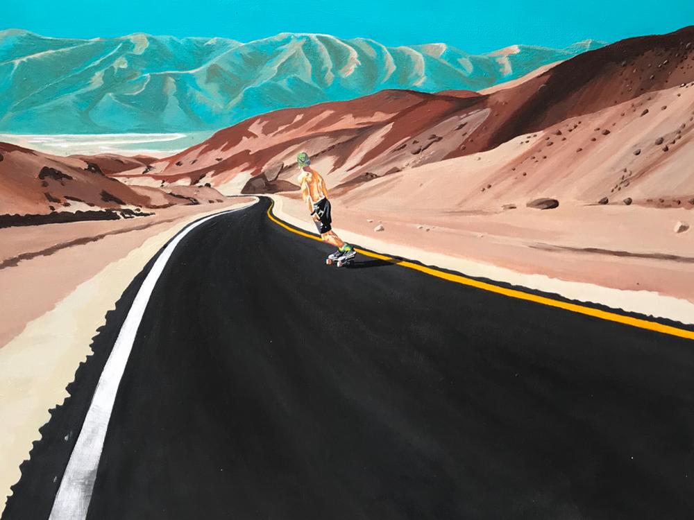 Original Death Valley Skateboarder Painting Closeup