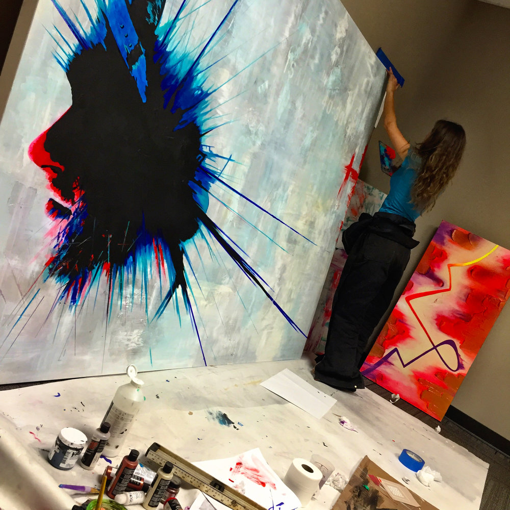 Man In Blue Painting by Casey Lynn Hancock 5