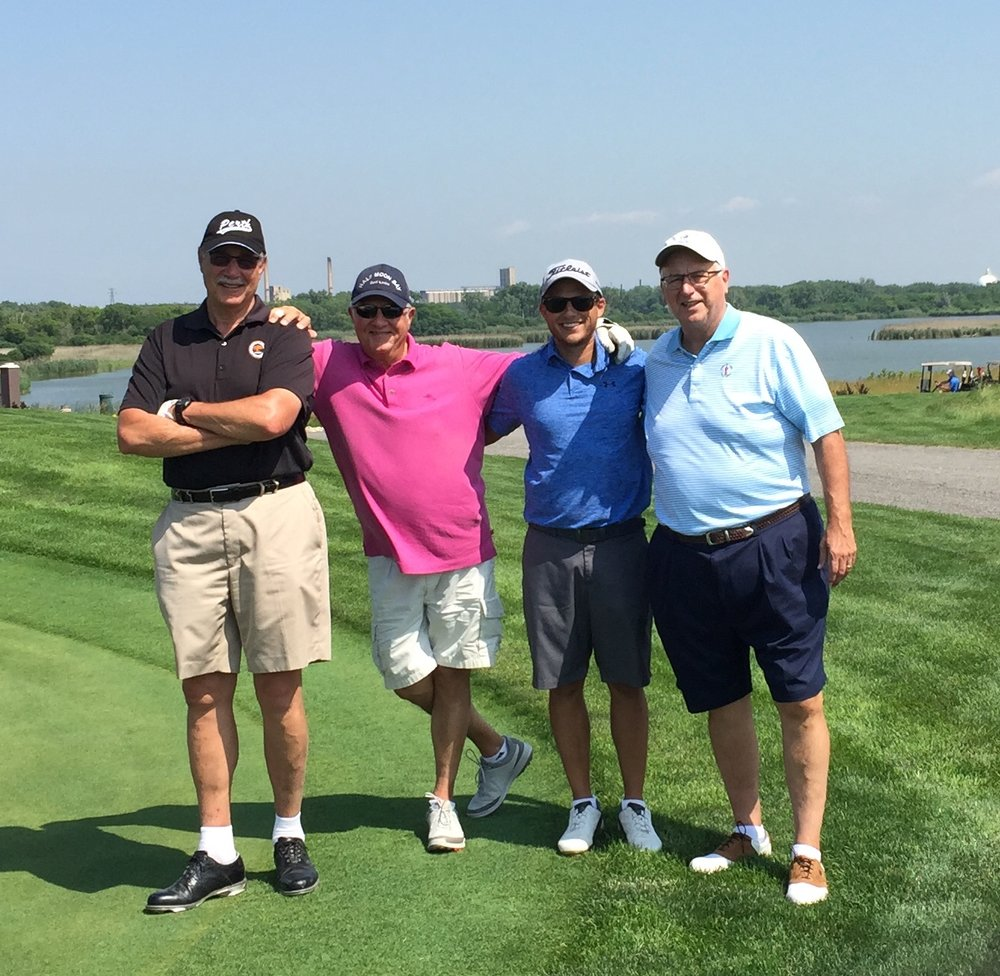 Tom teeing it up with (l to r) Barry Posner, Jim Kouzes and Wiley's Matt Cox after the Leadership Challenge Summit 2018 in Chicago