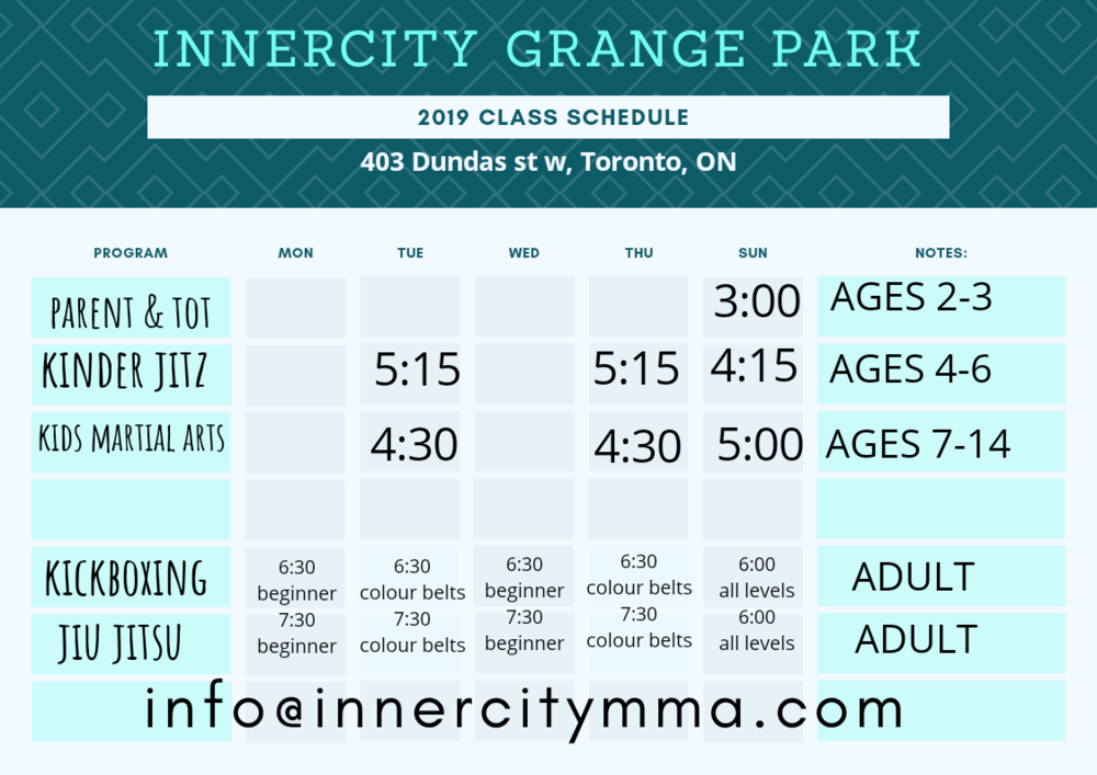 Innercity MMA - Grange Park class Schedule