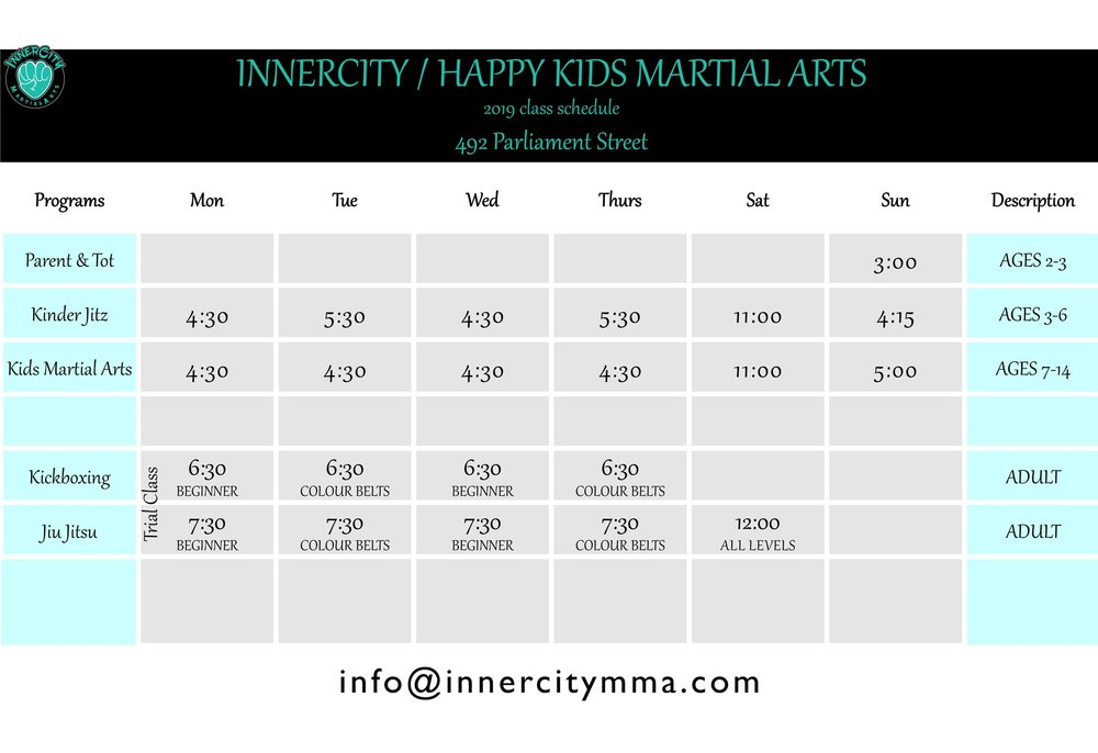 Cabbagetown Schedule: Please note adult classes for jiu jitsu start Feb 2019. Adult bjj trial classes will be held every Monday. Kids trial classes are held every Sat at 11AM. Please arrive 15 mins prior to the start of the class.