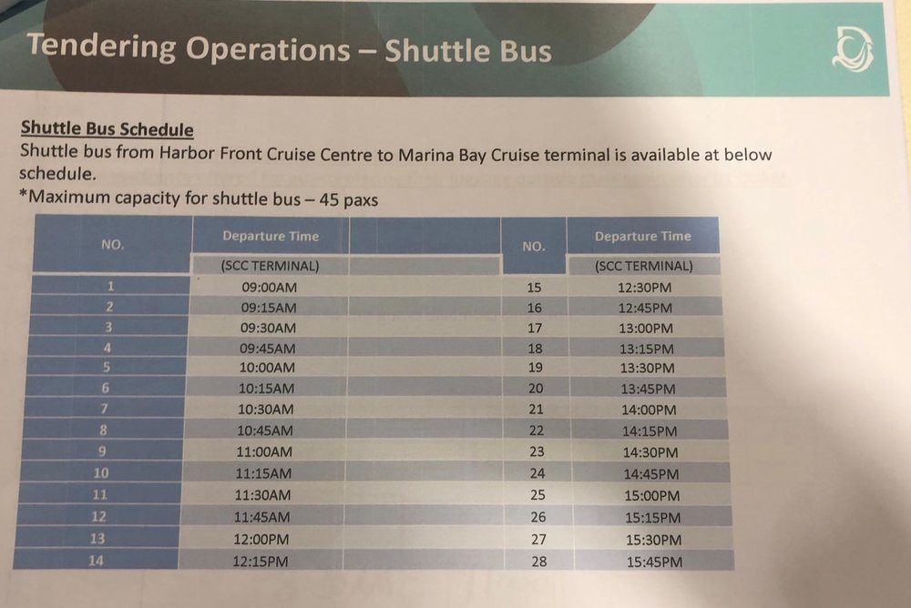 STEP SIX:     SHUTTLE BUS SERVICES   Guests who have parked their cars at the Marina Bay Cruise Centre Singapore will be able to take the complimentary shuttle bus services from Singapore Cruise Centre to Marina Bay Cruise Centre. With a maximum capacity of 45 passengers per trip, and a wait time of 15 minutes between trips, passengers will receive seamless connection between the two passenger terminals.