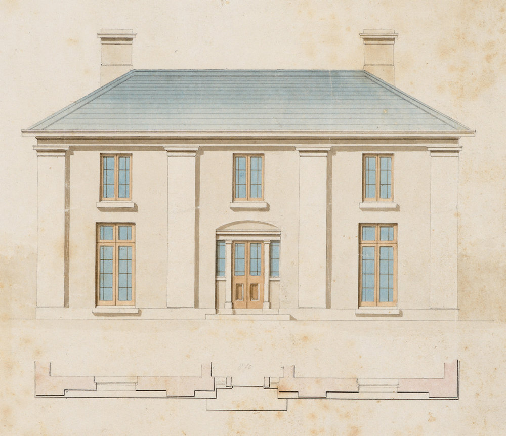 Edward Winch, Narryna elevation, pen and wash c. 1835.