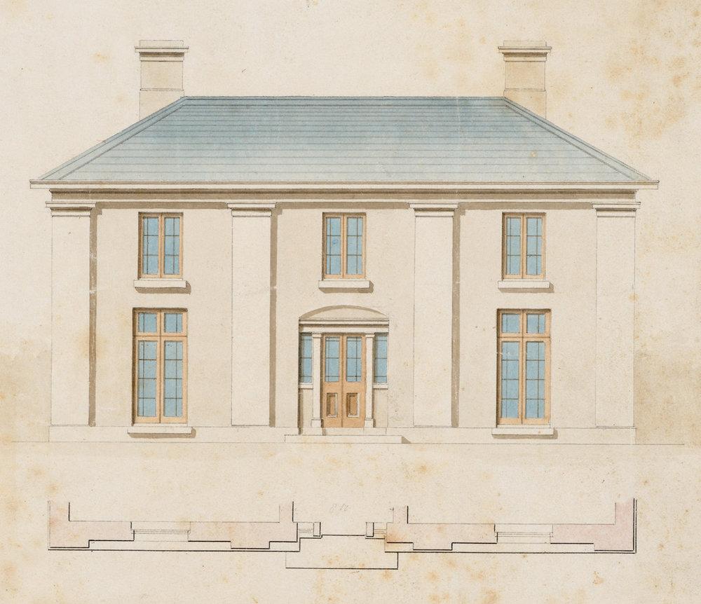 Edward Winch, Narryna elevation, pen and wash c. 1835.