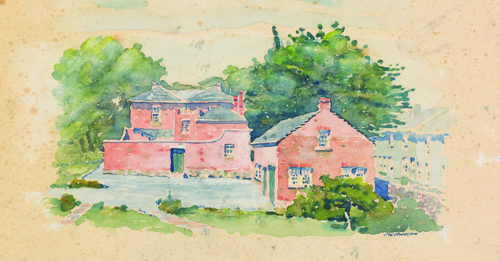 I.C. Anderson, Narryna from the north, watercolour c. 1955. Anderson was the architect for Narryna's restoration in the 1950s