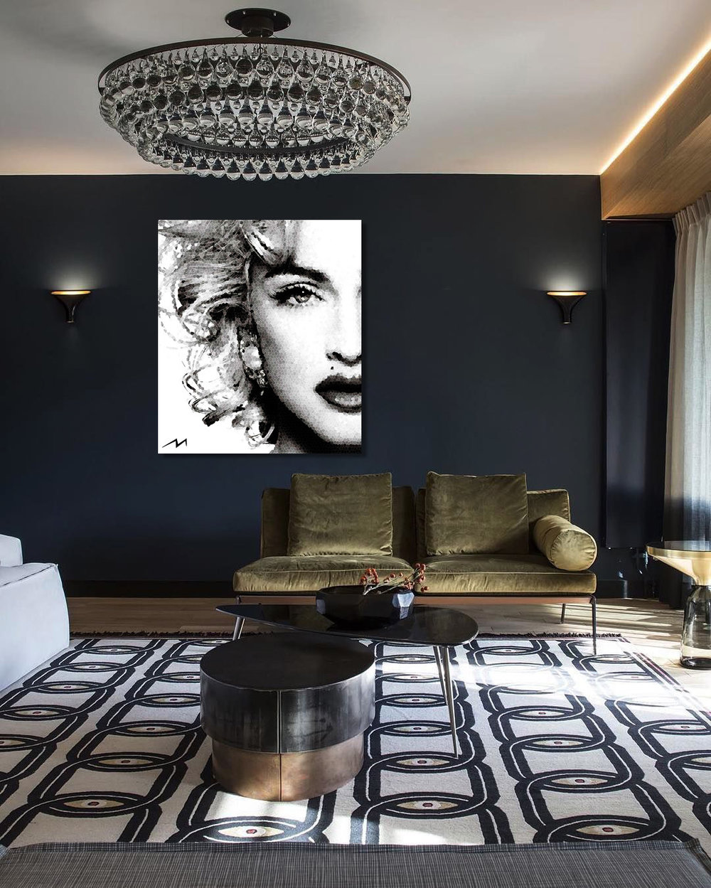 """Limited Edition 42"""" x 48""""  This piece was inspired by a question … Madonna … The """"Queen of Pop"""" … Would you say she is a Rebel or a Romantic ?"""