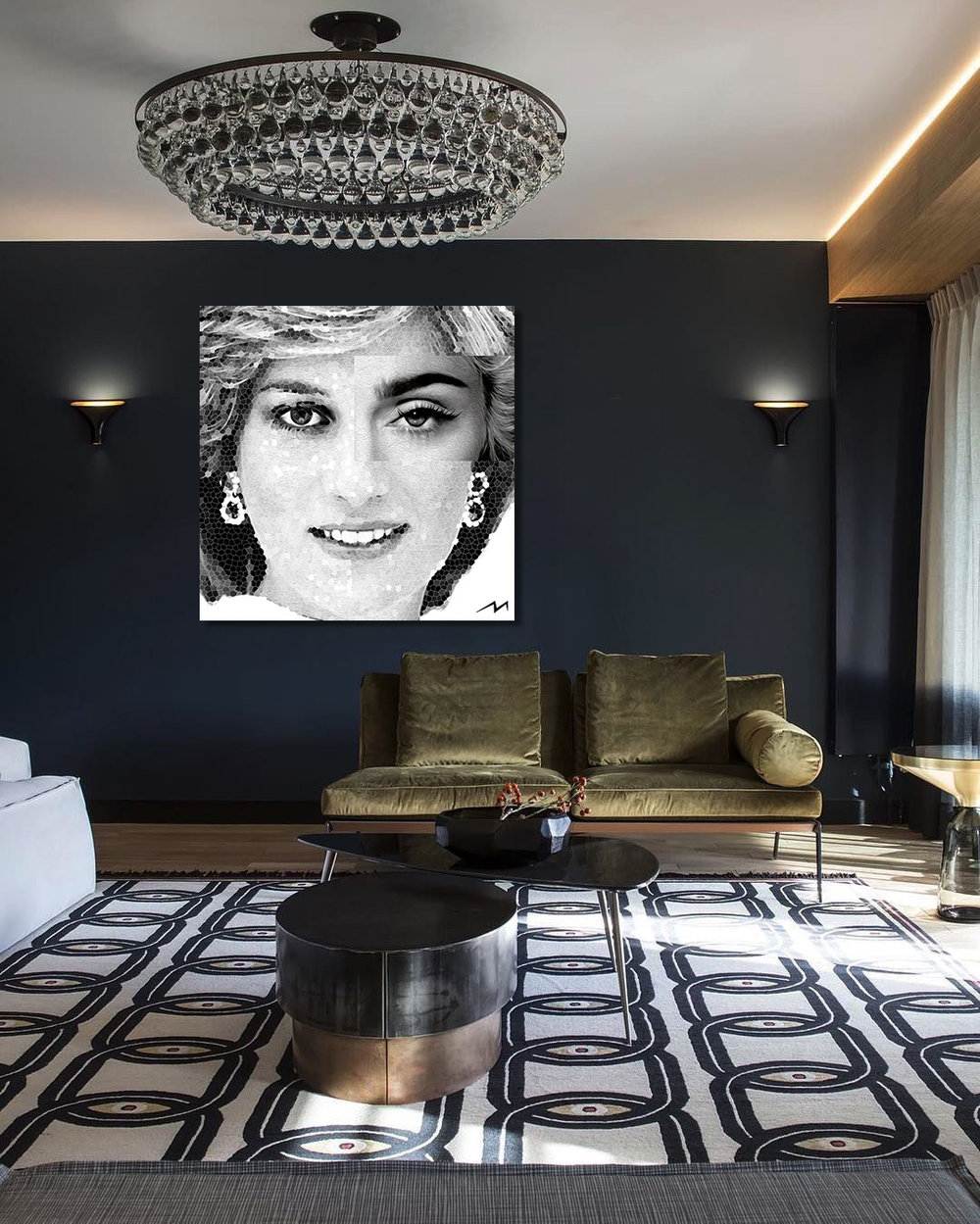 """48"""" x 48""""  This piece was inspired by a question … Princess Diana and Madonna … Diana broke royal protocol and Madonna, against all odds, broke records by hitting 157 number-one singles across all formats of the Billboard charts. Which one is more Rebel at Heart ?"""
