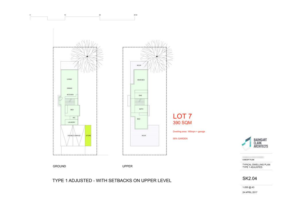 Example dwelling type sheet that accompanies the Site Master Plan